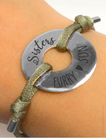 Pulsera elástica con donut de plata grabado con lo que tú quieras ★ Pulseras HAPPY ★