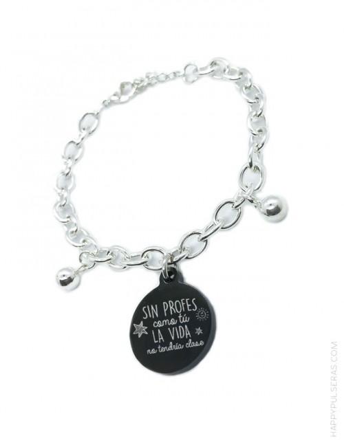 pulsera de acero blanco con medalla de titanio para grabar, pulsera personalizada a tu gusto.