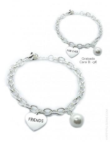 pulsera de acero blanco con corazón para grabar, pulsera personalizada a tu gusto. Happypulseras.com