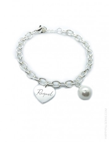 Pulsera de acero con corazón y perla. Regala pulseras personalizadas a tus familiares. happypulseras.com
