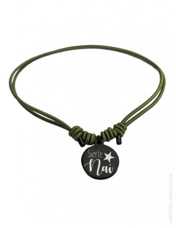 Collar para adolescentes grabado con su nombre. Collar de moda con medalla de acero negro con su nombre. Gratis el grabado