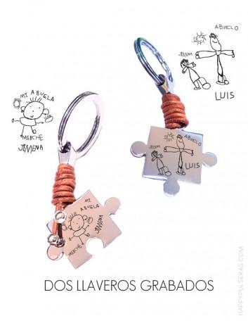 Llavero dos piezas de puzzle grabadas con dibujos de niño ★ Ideal para abuelos