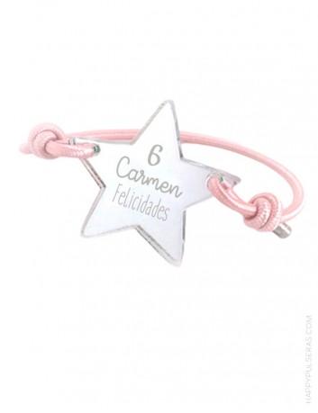 pulsera en estrella para grabar tu nombre o dedicatoria. Estrella plata efecto espejo con cordón rosa palo.