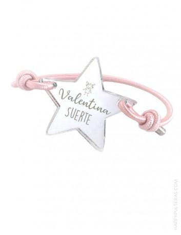 pulsera estrella para grabar tu nombre. Pulsera para niños, fácil de poner. Happypulseras.com