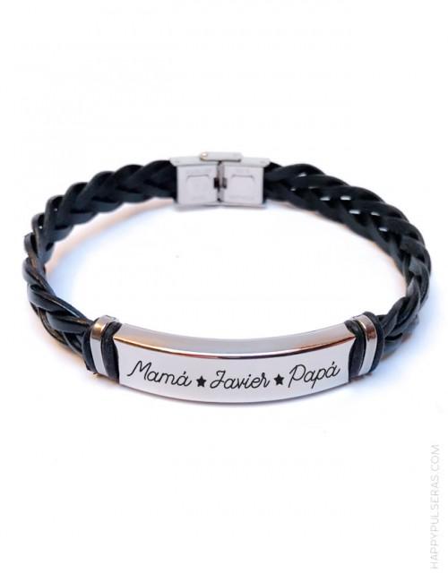 OFERTA pulsera de cuero uniese hecha a mano grabada con el mensaje que quieras-happypulseras.com