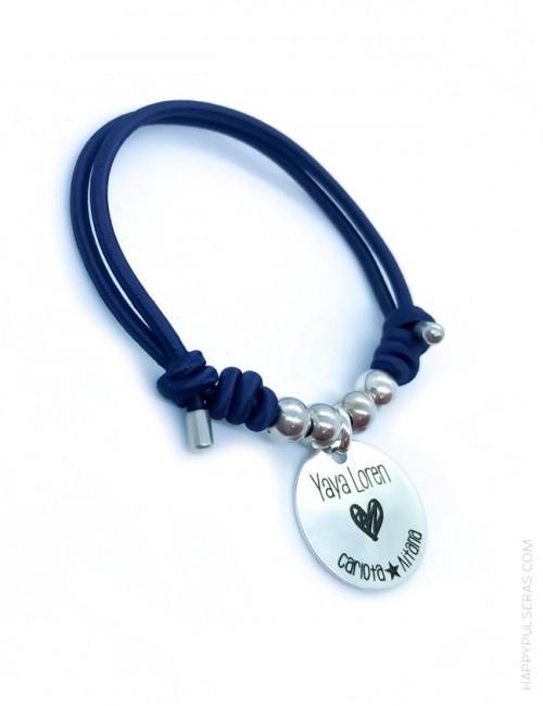 Pulsera personalizada elástica con medalla plata grabada para la abuela- azul marino