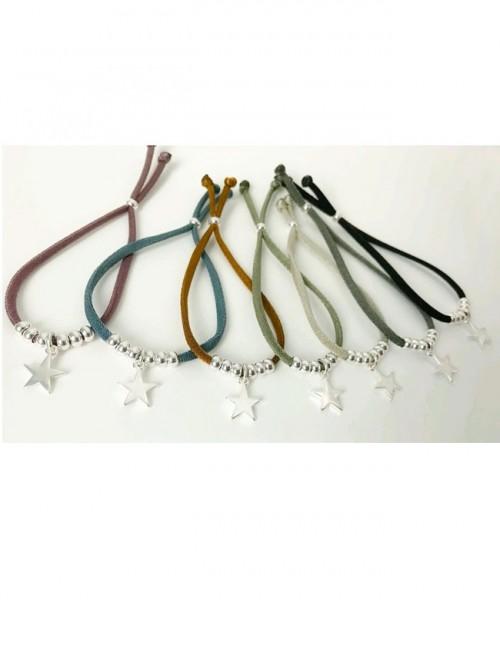 pulseras elástico seda con bolitas baño oro o plata y charm estrella