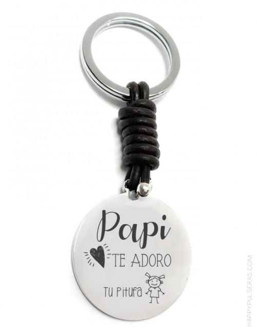 Llavero personalizado papa de cuero y acero hecho a mano en Happypulseras.com