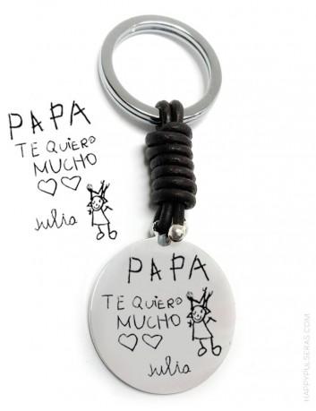 idea de regalo para papá: llavero de acero y cuero grabado con el dibujo de tu hijo! Happypulseras