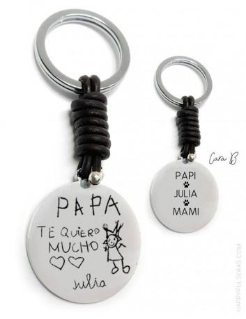 llaveros personalizados de cuero grabados con dibujos- Grabados espectaculares- happypulseras.com
