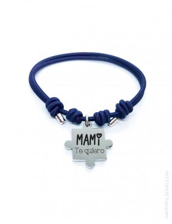 Pulsera a juego madre e hijo personalizada con sus nombres- Puzzle con elástico de colores- azul marino