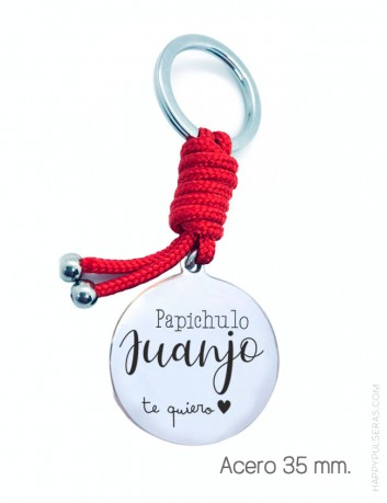 llavero personalizado para papá, medalla de 35 mm de acero grabada con dedicatoria y su nombre- Happypulseras.com