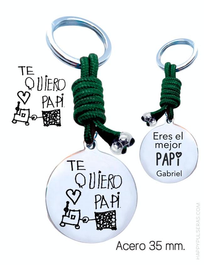 Llavero personalizado para papá en verde botella con dibujo grabado de tu hijo. Happypulseras Madrid - Valladolid