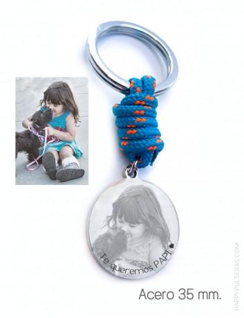 Hazte una foto con papi y grabasela en una medalla de llavero náutico personalizado para él- Happypulseras