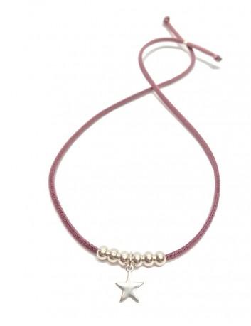 pulsera doble vuelta elástico rosa bolitas estrella plateada, también como collar.