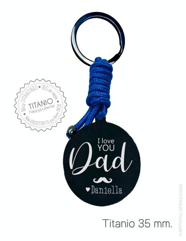Llavero titanio negro personalizado para papá- Regalo original para el día del padre. happypulseras.com