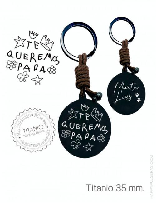 Llavero de titanio personalizado para regalar a papá grabado con un escrito a mano- Happypulseras.com