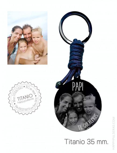 llavero personalizado para papá grabado con una foto de familia- Azul marino y titanio