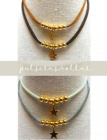 Pulsera doble vuelta cordón elástico seda de colores con bolitas y estrella, luna, también sirve como collar