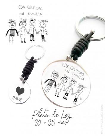 llavero de plata con grabados originales. regalos personalizados happypulseras Madrid