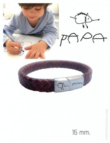 pulsera de cuero personalizada para papá- Regala a papi una pulsera de cuero con tu dibujo