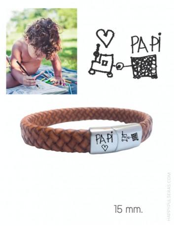 pulsera cuero y acero grabado en cierre con dibujo para papá- happypulseras.com