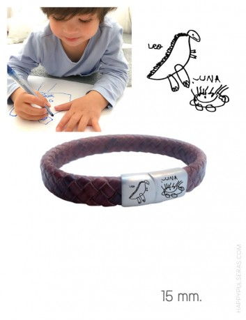 pulsera de cuero y acero para grabar en cierre el dibujo de un niño o escrito a mano. Happypulseras