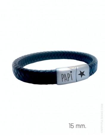 pulsera de cuero y acero grabada en el cierre. Color negro 15 mm. Personalízala en Happypulseras.com