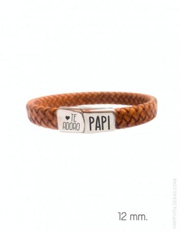 Pulsera de cuero y acero personalizada para papá, regalos originales Happypulseras.com