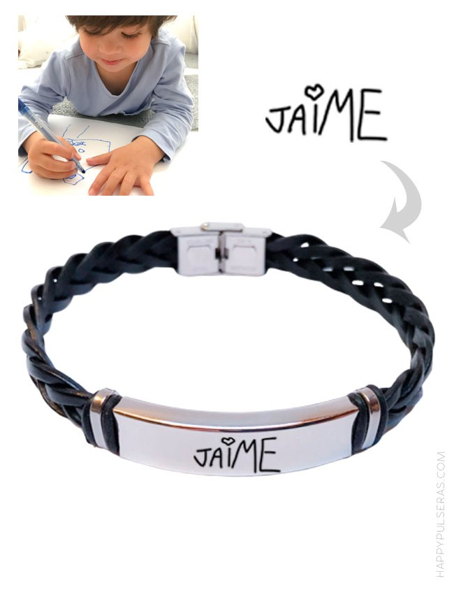 Pulsera trenzada grabada con el nombre de un niño escrito por él mismo. Color negro