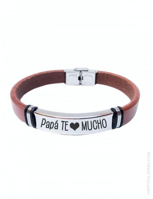 Pulsera personalizada papá de cuero liso con grabado de texto. happypulseras.com