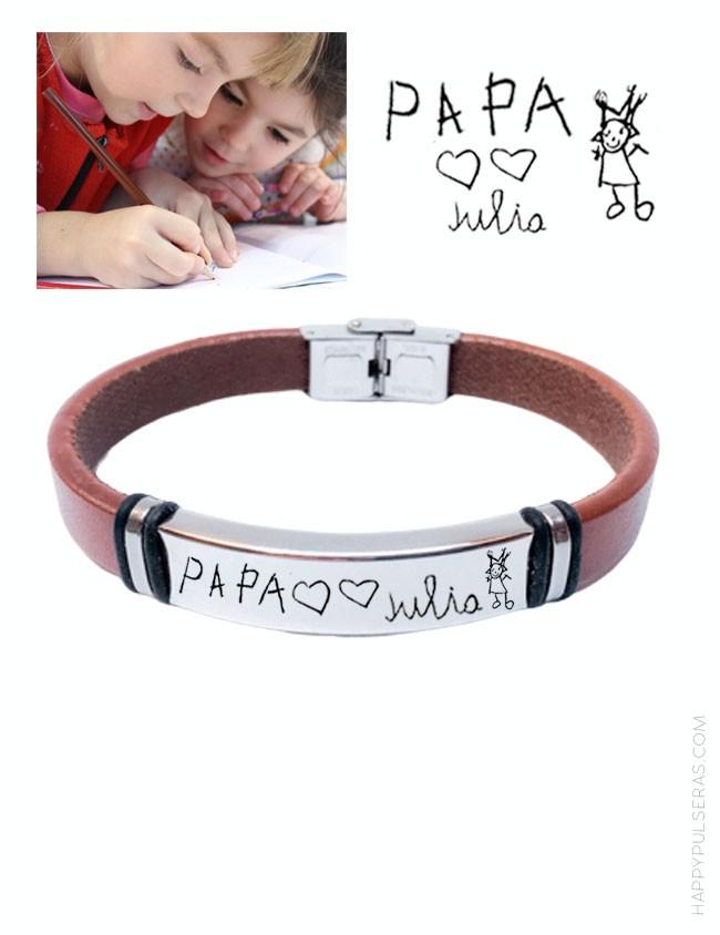 Pulsera personalizada para papá de cuero liso grabada con dibujo para papá. happypulseras.com Tienda en Valladolid