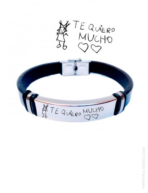 pulsera para hombre regalo original chico pulsera cuero grabada con escrito a mano