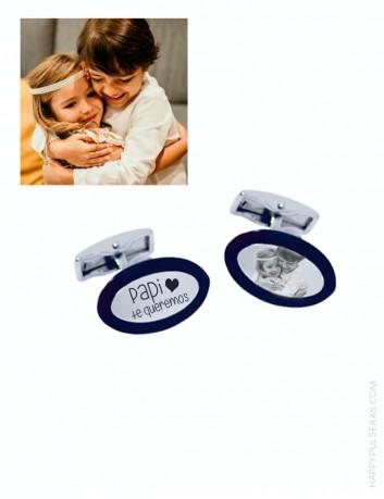 Gemelos personalizados para papá de acero grabados con tu foro favorita en Happypulseras