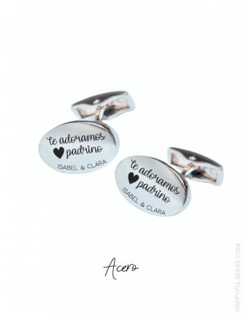 Gemelos camisa personalizados de acero, gemelos grabados con dedicatorias molonas en Happypulseras