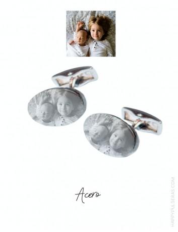 Gemelos personalizados con foto y dedicatoria. Grabados gratis. Acero- en happypulsras