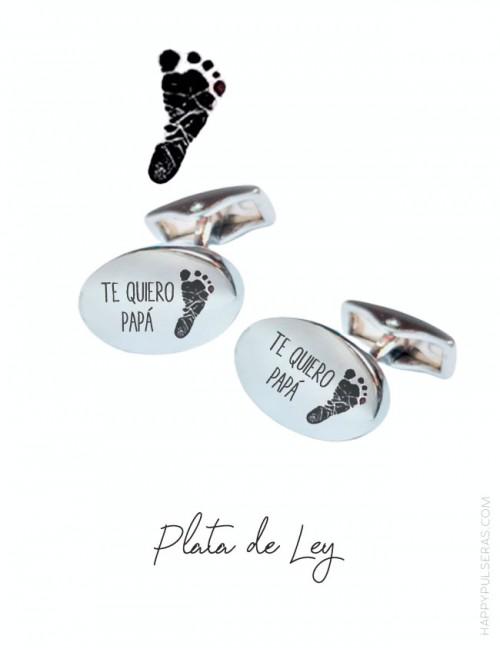 Idea de regalo para papá: gemelos personalizados con huellas de sus hijos en Happypulseras.com