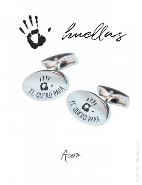 Gemelos personalizados para papá grabados con huellas de sus hijos en Happypulseras