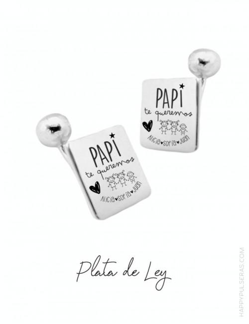 Gemelos para papá personalizados grabados con la dedicatoria que quieras. Envíos rápidos en Happypulseras.