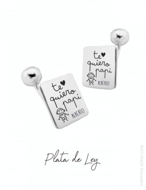Gemelos personalizados para papá en plata cuadrados con dedicatoria grabada en Happypulseras.com