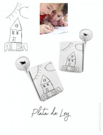 Gemelos personalizados grabados con un dibujo o escrito a mano. Regalo original que encanta en Happypulseras