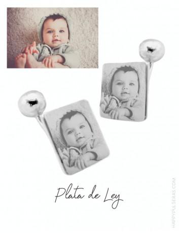 Gemelos cuadrados de plata personalizados para papá con una foto preferida