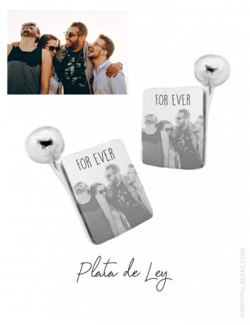 Gemelos de plata personalizados con fotos. Regalos originales para papá happypulseras