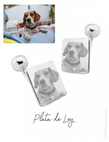 Gemelos personalizados de plata grabados con fotos de mascotas en happypulseras