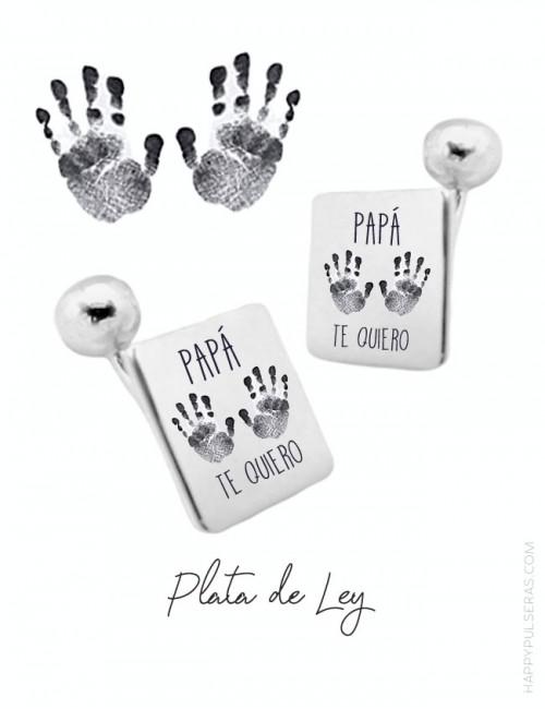 Gemelos personalizados para papá grabados con huellas en happypulseras