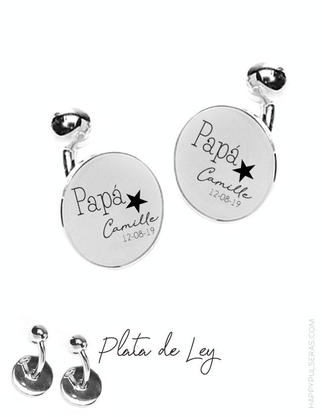 Gemelos personalizados para papá en plata redondos con dedicatoria grabada en Happypulseras.com