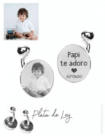 Gemelos de plata personalizados para papá con una foto preferida en Happypulseras, expertos en grabados de joyas