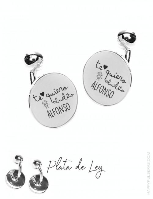 Gemelos de plata personalizados grabados con dedicatoria en happypulseras