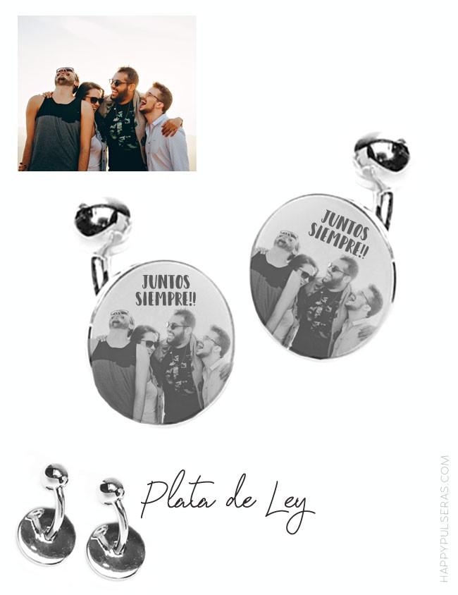 Gemelos de plata redondos personalizados, grabados con una foto, resultado espectacular en happypulseras.com