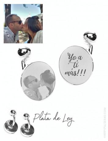 Gemelos de plara personalizados para regalar a tu pareja, regalos de enamorados personalizados en happypulseras.con